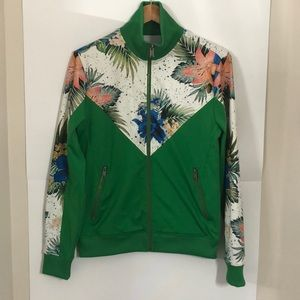 GUESS Small Oversized green floral zip up sweater